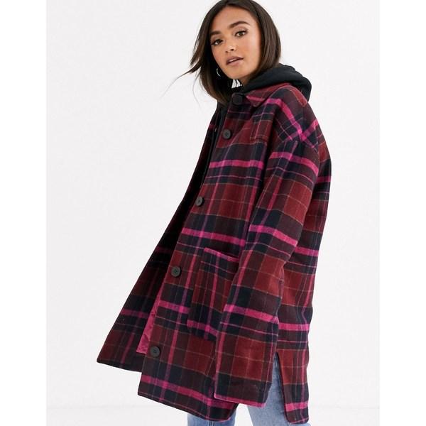 エイソス レディース ジャケット&ブルゾン アウター ASOS DESIGN oversized check jacket with quilted liner Pink