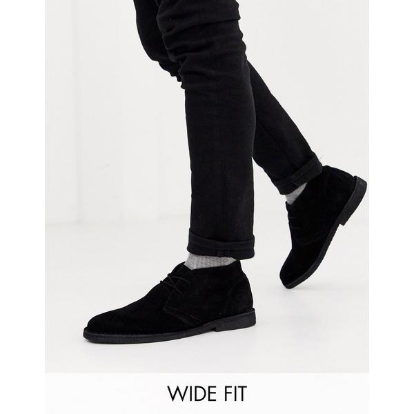 エイソス メンズ ブーツ&レインブーツ シューズ ASOS DESIGN Wide Fit desert chukka boots in black suede Black
