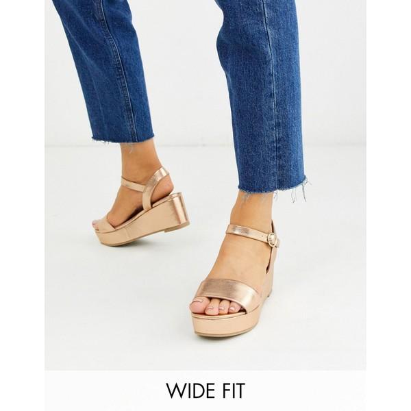 エイソス レディース サンダル シューズ ASOS DESIGN Wide Fit Tallie flatform sandals in rose gold Rose gold