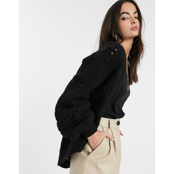 エイソス レディース カーディガン アウター ASOS DESIGN stitch detail edge to edge cardi with volume sleeve Black