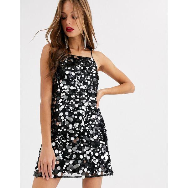 エイソス レディース ワンピース トップス ASOS DESIGN mini cami dress in disc sequin Black/silver