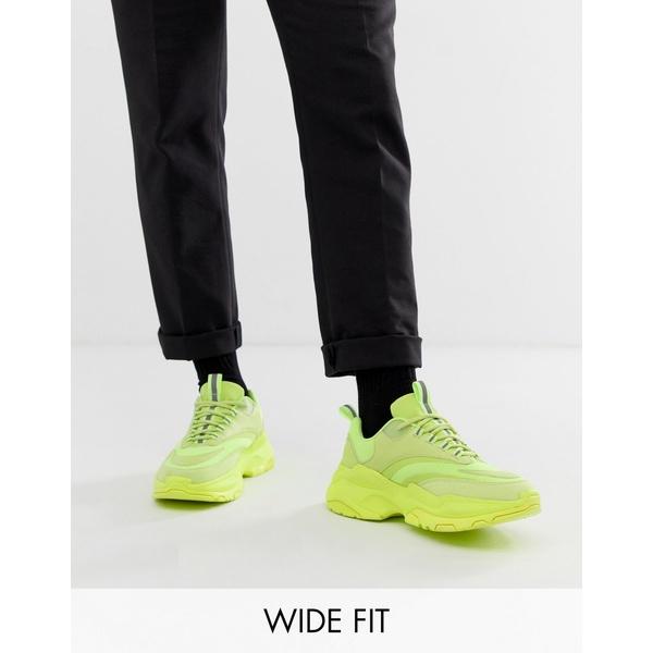 エイソス メンズ スニーカー シューズ ASOS DESIGN Wide Fit sneakers in neon with chunky sole Yellow