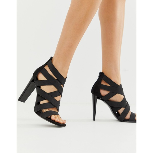 エイソス レディース ヒール シューズ ASOS DESIGN Hunt elastic strappy block heeled sandals Black