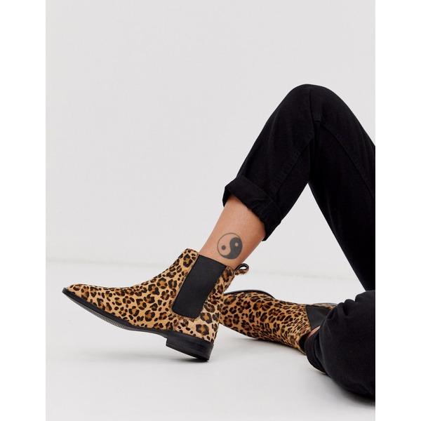 エイソス レディース ブーツ&レインブーツ シューズ ASOS DESIGN April leather chelsea boots in leopard pony Leopard pony