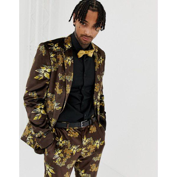 エイソス メンズ ジャケット&ブルゾン アウター ASOS DESIGN skinny suit jacket in velvet with floral Brown