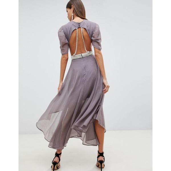 エイソス レディース ワンピース トップス ASOS DESIGN floaty soft midi dress with back pearl detail Charcoal gray