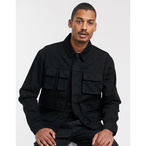 エイソス メンズ ジャケット&ブルゾン アウター ASOS DESIGN denim jacket with utility pockets in black Black