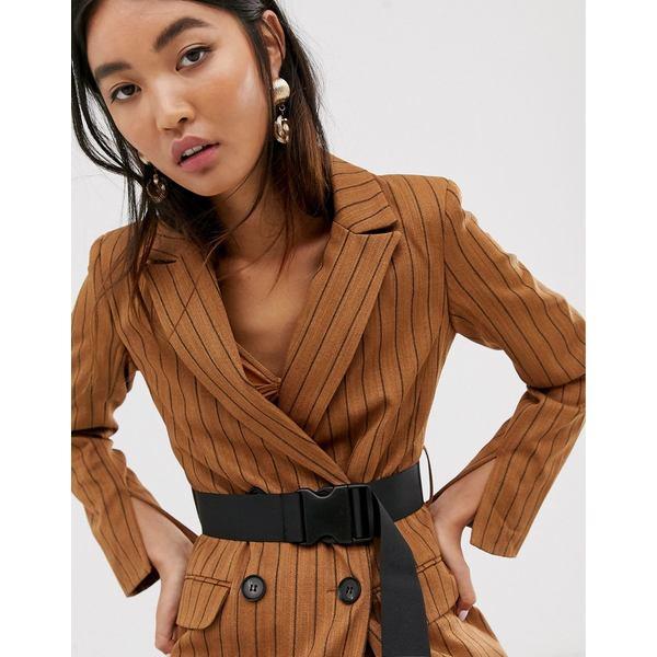 エイソス レディース ジャケット&ブルゾン アウター ASOS DESIGN brown stripe longline seatbelt blazer Stripe