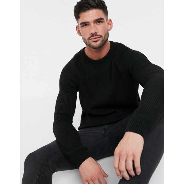 エイソス メンズ ニット&セーター アウター ASOS DESIGN ribbed sweater with raglan sleeve in black Black