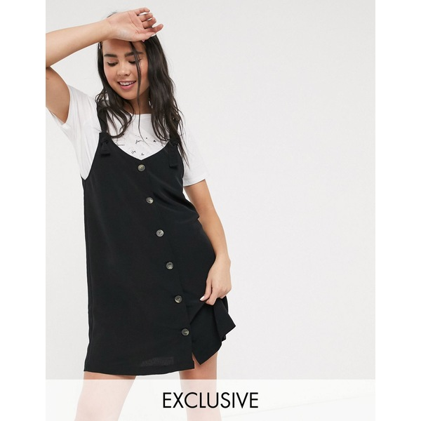モンキ レディース ワンピース トップス Monki Nea sleeveless button through dress in black Black