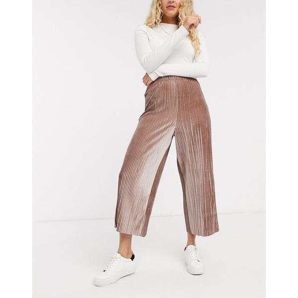 エイソス レディース カジュアルパンツ ボトムス ASOS DESIGN velvet plisse culotte pants Mink