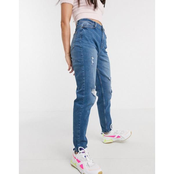 ピーシーズ レディース デニムパンツ ボトムス Pieces Kesia high waisted boyfriend jeans in blue Medium blue denim
