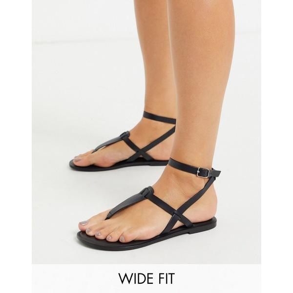 エイソス レディース サンダル シューズ ASOS DESIGN Wide Fit Fennel leather toe post sandal in black Black