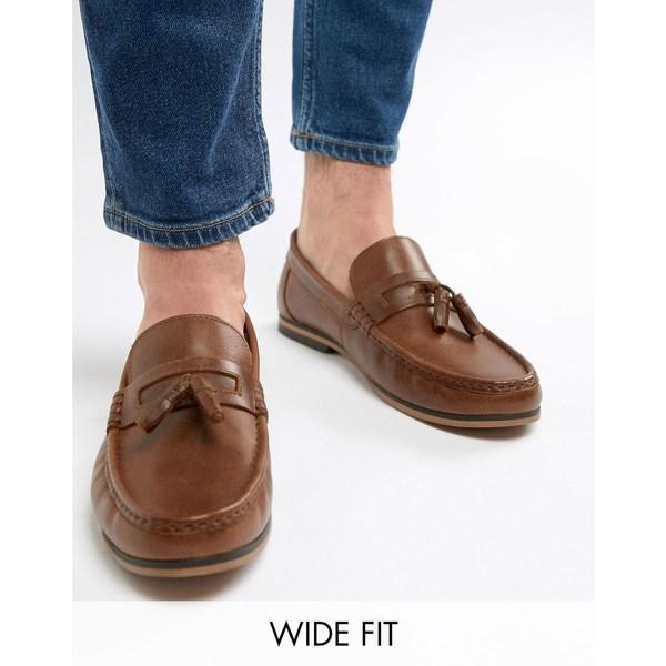 エイソス メンズ スリッポン・ローファー シューズ ASOS DESIGN Wide Fit tassel loafers in tan leather with natural sole Tan