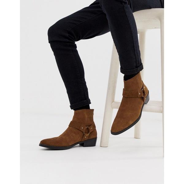 エイソス メンズ ブーツ&レインブーツ シューズ ASOS DESIGN stacked heel western chelsea boots in tan suede with buckle detail Tan