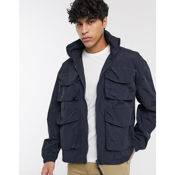 エイソス メンズ ジャケット&ブルゾン アウター ASOS DESIGN jacket with funnel neck in navy Navy