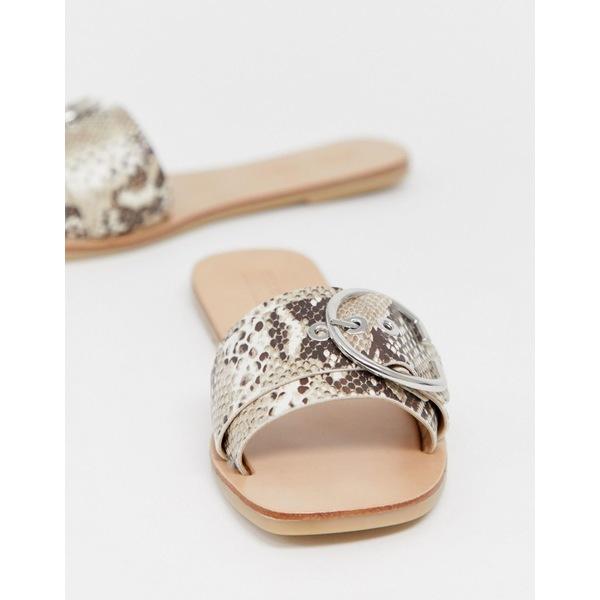 エイソス レディース サンダル シューズ ASOS DESIGN Factual buckle flat sandals in snake Snake