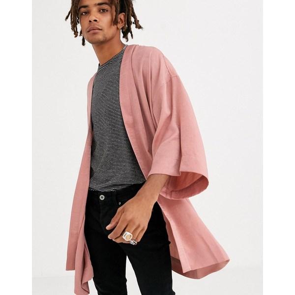 エイソス メンズ シャツ トップス ASOS DESIGN crushed satin kimono in dusty pink Pink