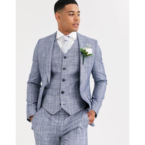 エイソス メンズ ジャケット&ブルゾン アウター ASOS DESIGN wedding skinny suit jacket in dark blue crosshatch Navy