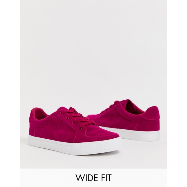 エイソス レディース スニーカー シューズ ASOS DESIGN Wide Fit Value sneakers in raspberry pink Bright raspberry
