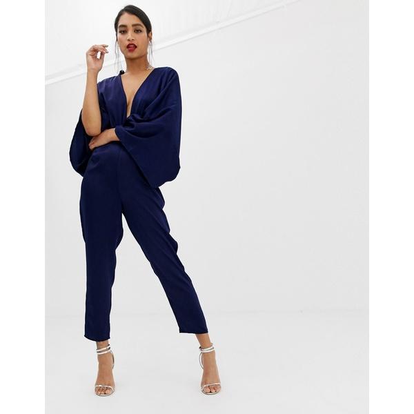 エイソス レディース ワンピース トップス ASOS DESIGN drape kimono jumpsuit with ultra plunge and peg leg Navy
