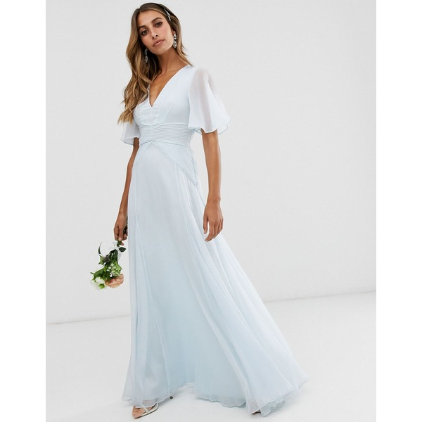 エイソス レディース ワンピース トップス ASOS DESIGN Bridesmaid flutter sleeve maxi dress with pleated waist Sky blue