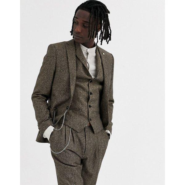 ツイステッドテイラー メンズ ジャケット&ブルゾン アウター Twisted Tailor super skinny suit jacket in herringbone Brown