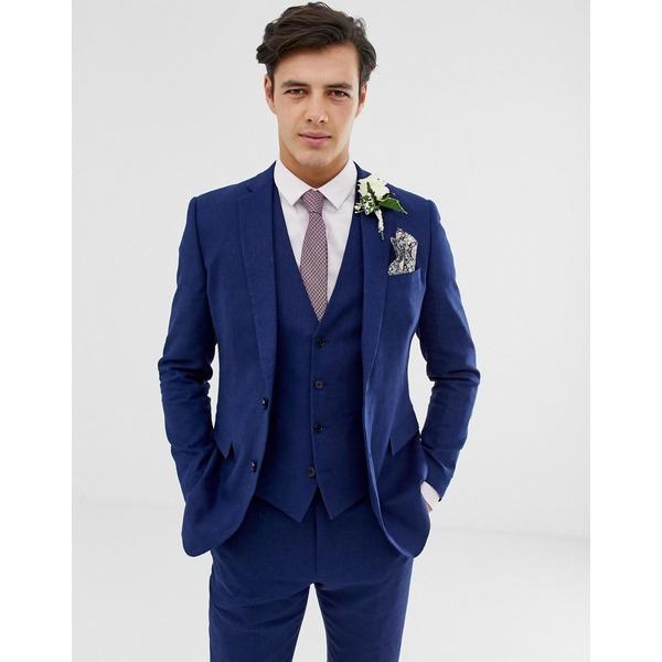 フレンチコネクション メンズ ジャケット&ブルゾン アウター French Connection wedding slim fit plain linen suit jacket Blue