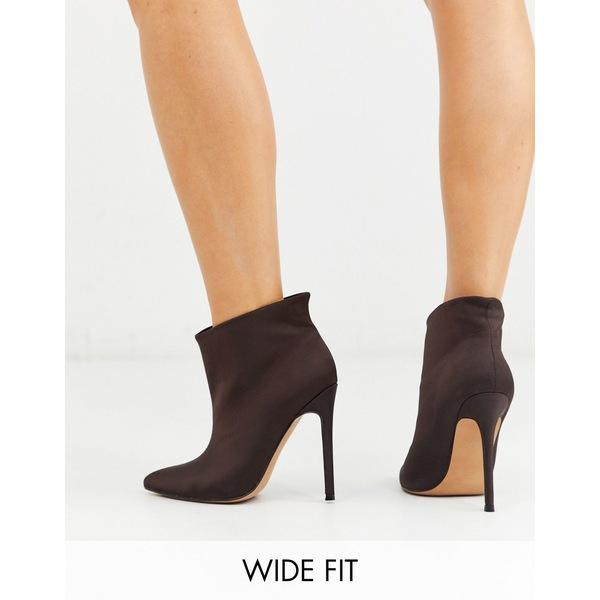 エイソス レディース ブーツ&レインブーツ シューズ ASOS DESIGN Wide Fit Effortless pull on ankle boots in brown Brown