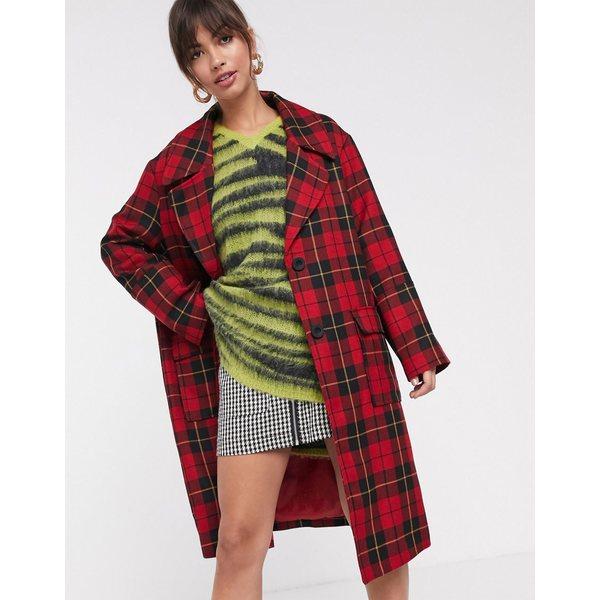 エイソス レディース コート アウター ASOS DESIGN grunge check coat Multi