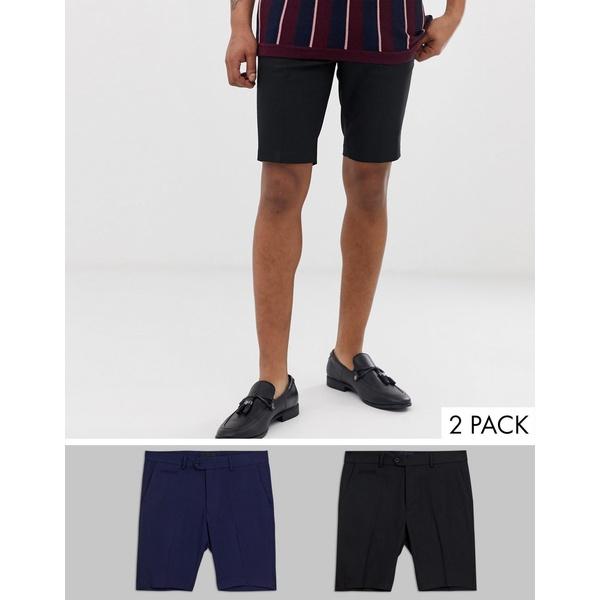 エイソス メンズ カジュアルパンツ ボトムス ASOS DESIGN 2 pack slim mid length smart shorts in black and navy SAVE Black/navy