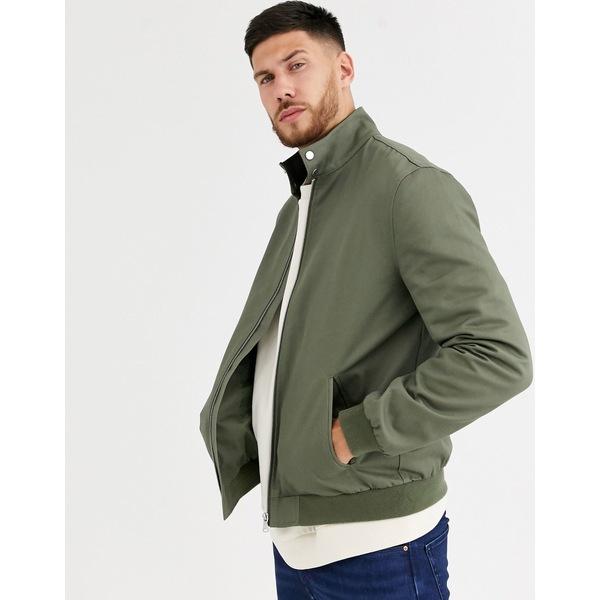 エイソス メンズ ジャケット&ブルゾン アウター ASOS DESIGN harrington jacket with funnel neck in khaki Khaki
