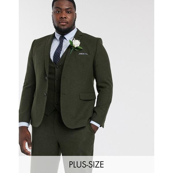 ハリー・ブラウン メンズ ジャケット&ブルゾン アウター Harry Brown Plus wedding tweed heritage suit jacket Green