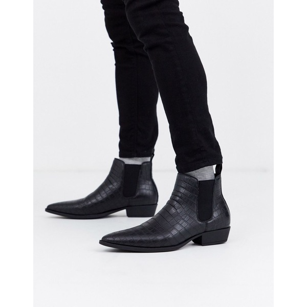 エイソス メンズ ブーツ&レインブーツ シューズ ASOS DESIGN stacked heel western chelsea boots in black faux leather with croc effect Black