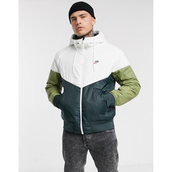 ナイキ メンズ ジャケット&ブルゾン アウター Nike Heritage Essentials Windrunner reversible insulated hooded zip-through jacket in dark khaki/green Dark khaki/green