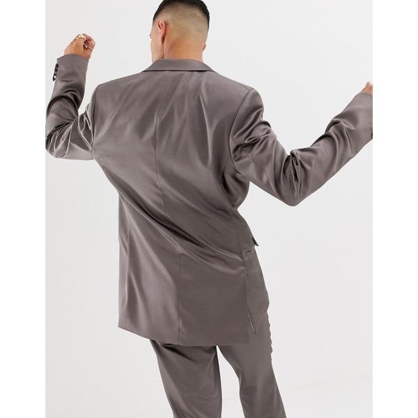 エイソス メンズ ジャケット&ブルゾン アウター ASOS DESIGN slim suit jacket in high shine gunmetal sateen Gray