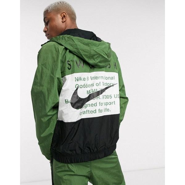 ナイキ メンズ ジャケット&ブルゾン アウター Nike Swoosh color block zip-through woven hooded jacket in black Black
