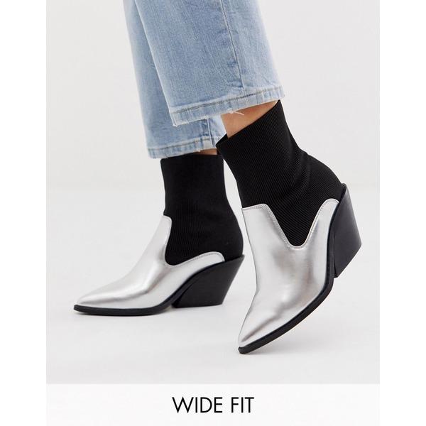 エイソス レディース ブーツ&レインブーツ シューズ ASOS DESIGN Wide Fit Nutshell platform barely there heeled sandals in snake Silver/black