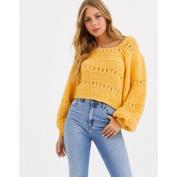 エイソス レディース ニット&セーター アウター ASOS DESIGN stitch detail square neck sweater with volume sleeve Marigold
