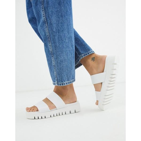 エイソス レディース サンダル シューズ ASOS DESIGN Fletch chunky jelly flat sandals in white White