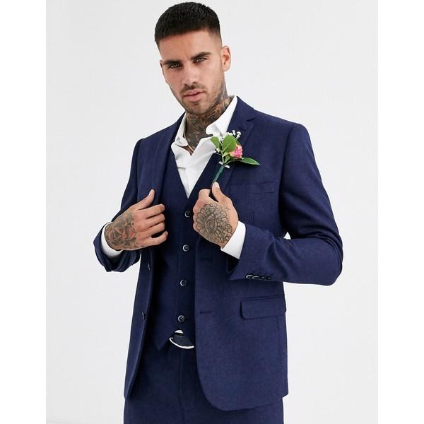 ハリー・ブラウン メンズ ジャケット&ブルゾン アウター Harry Brown wedding tweed heritage slim fit suit jacket Navy