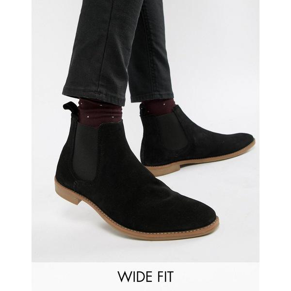 エイソス メンズ ブーツ&レインブーツ シューズ ASOS DESIGN Wide Fit chelsea boots in black suede with natural sole Black