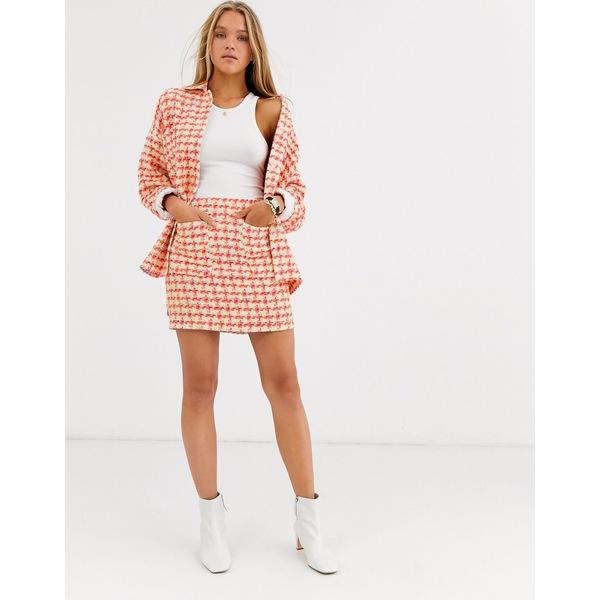 エイソス レディース スカート ボトムス ASOS DESIGN fluro pop boucle suit skirt Check