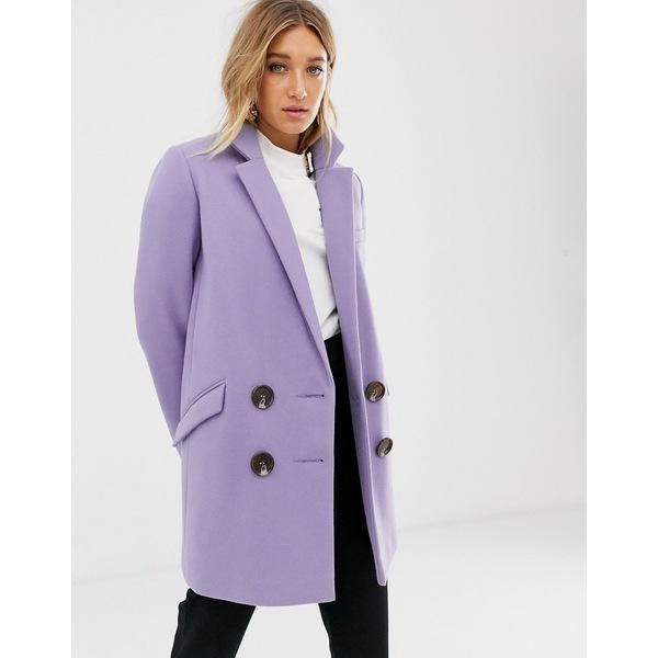 エイソス レディース コート アウター ASOS DESIGN double breasted coat Lilac