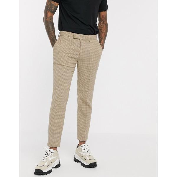 エイソス メンズ カジュアルパンツ ボトムス ASOS DESIGN skinny smart pants in wool mix camel houndstooth check Camel