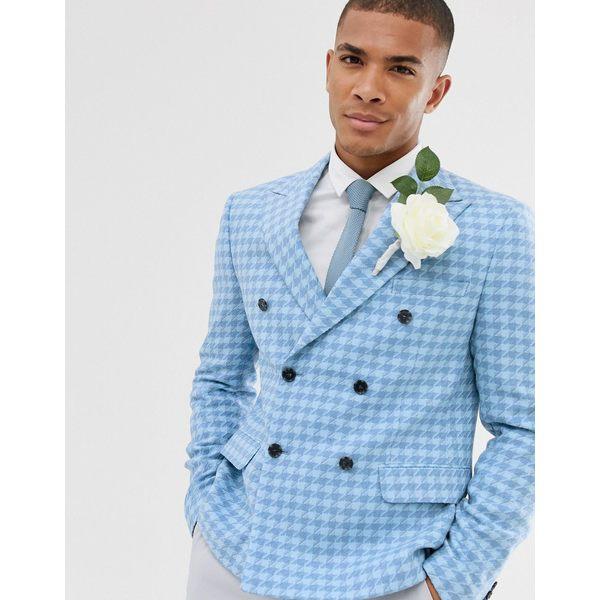 エイソス メンズ ジャケット&ブルゾン アウター ASOS DESIGN wedding slim crop double breasted blazer with wool mix large scale houndstooth in blue Blue