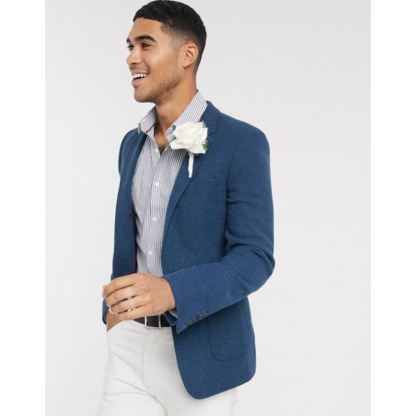 エイソス メンズ ジャケット&ブルゾン アウター ASOS DESIGN super skinny blazer with wool mix twill in navy Blue