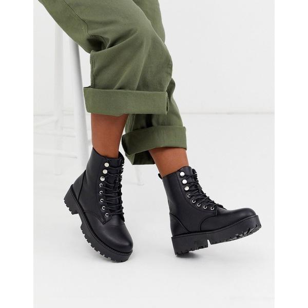 キューピッド レディース ブーツ&レインブーツ シューズ Qupid lace up military boot in black Black