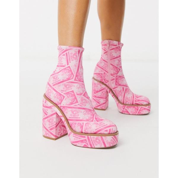 エイソス レディース ブーツ&レインブーツ シューズ ASOS DESIGN Electrics platform ankle boot in money print Pink