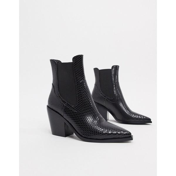レイド レディース ブーツ&レインブーツ シューズ RAID Alyson western boots in black snake Black snake pu